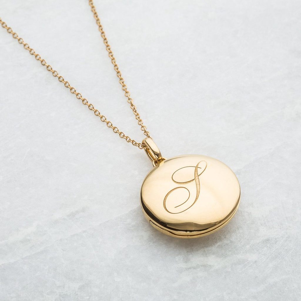 14k Gold Vermeil Engraved Initial Locket Necklace with Diamond Detail Necklace VJI Gold Vermeil A