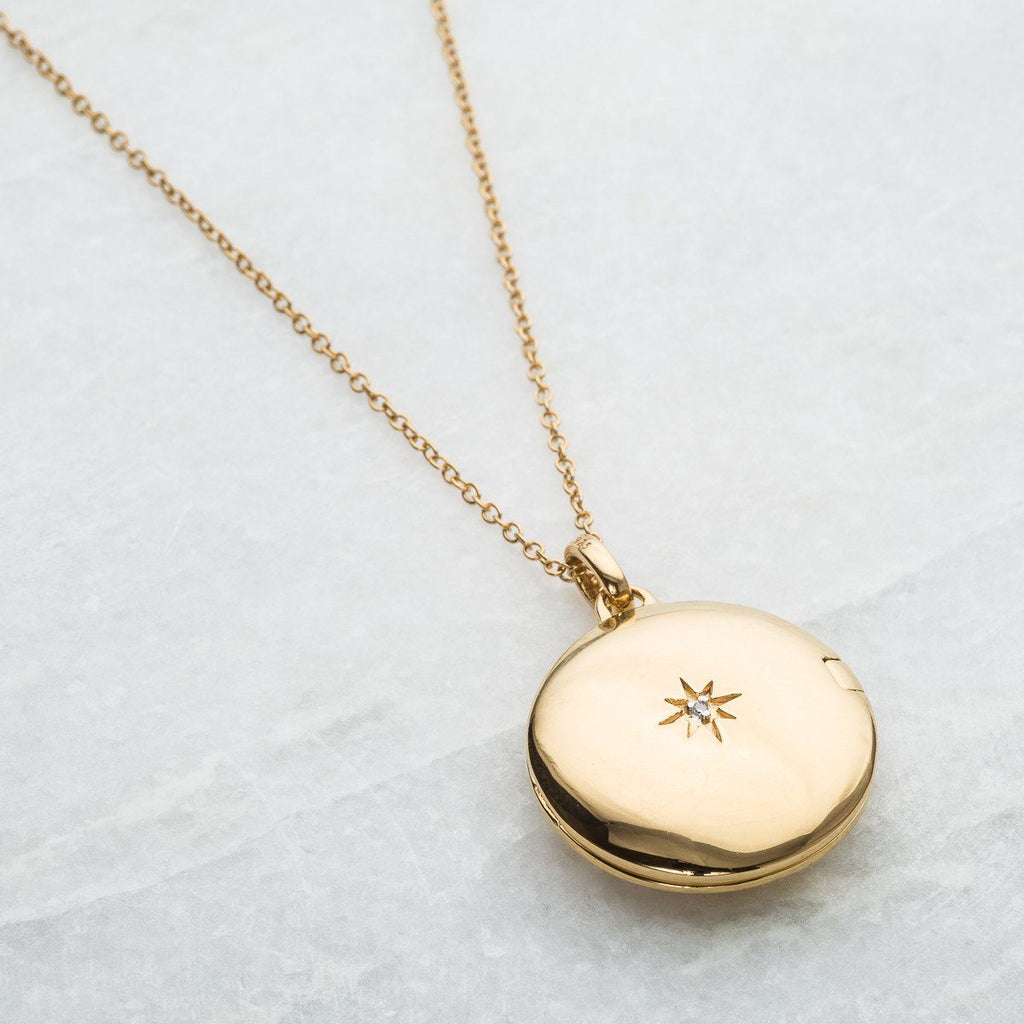 14k Gold Vermeil Engraved Initial Locket Necklace with Diamond Detail Necklace VJI Gold Vermeil Blank with diamond detail