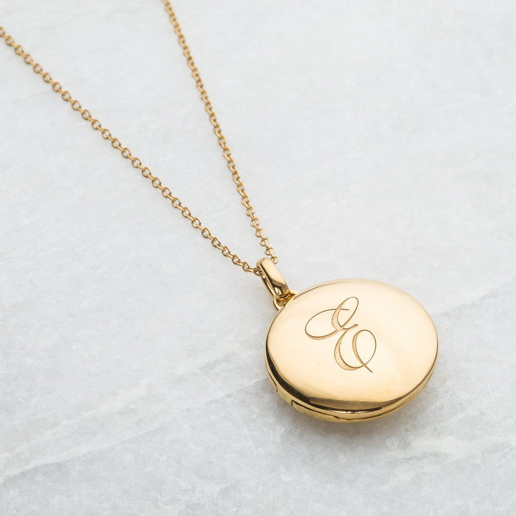 14k Gold Vermeil Engraved Initial Locket Necklace with Diamond Detail Necklace VJI Gold Vermeil E