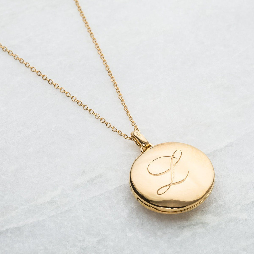 14k Gold Vermeil Engraved Initial Locket Necklace with Diamond Detail Necklace VJI Gold Vermeil L