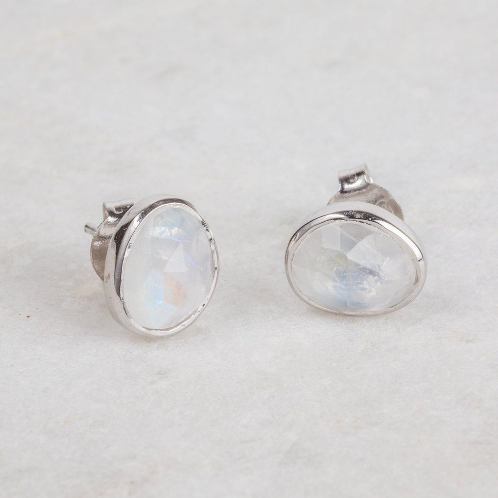 Sterling Silver Simple Stone Earrings in Moonstone  Best Seller, bride, earrings, Moonstone, Organic, Semi Precious, Silver, Studs, under-80