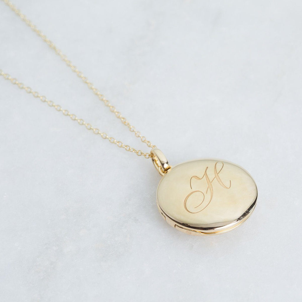 14k Gold Vermeil Engraved Initial Locket Necklace with Diamond Detail Necklace VJI Gold Vermeil H