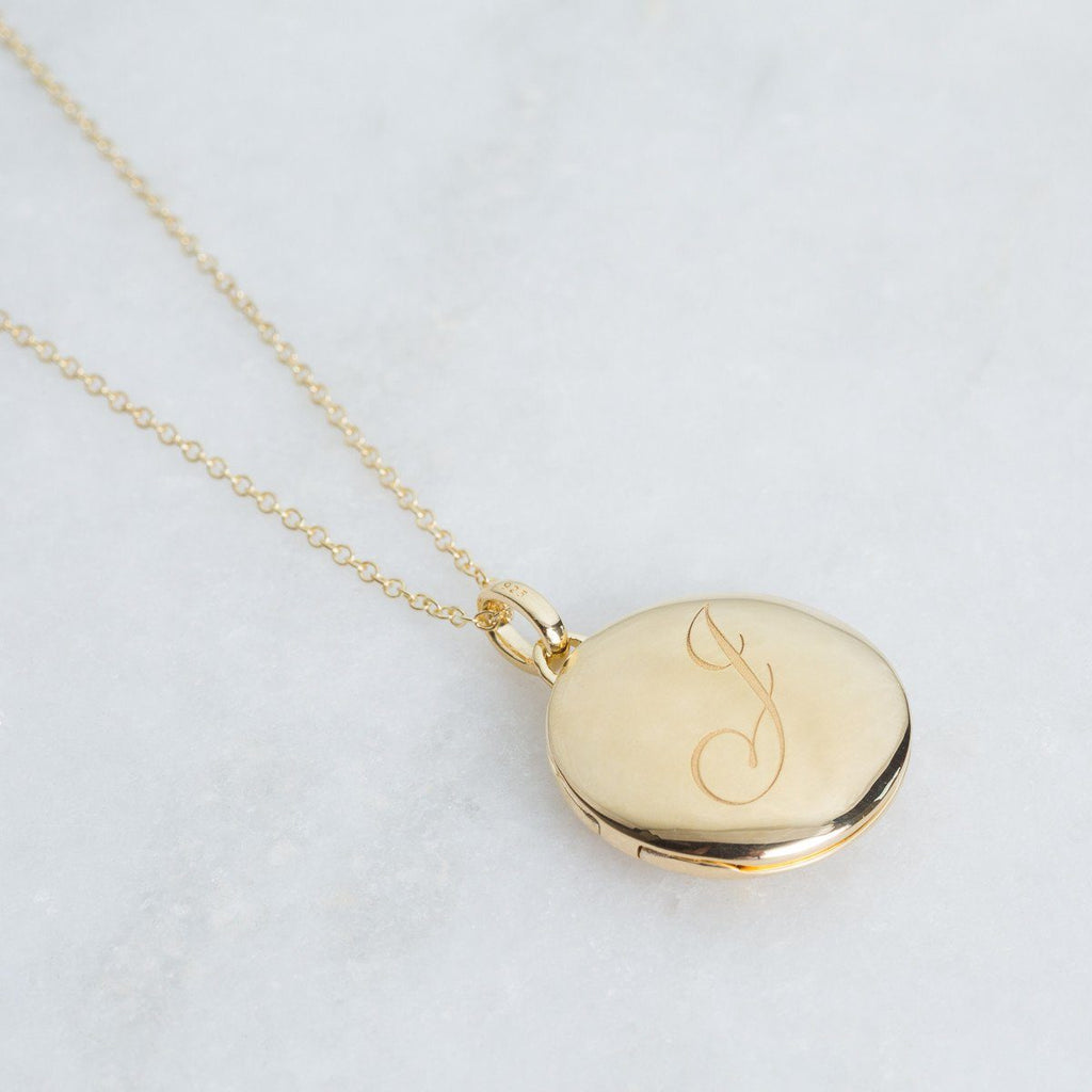 14k Gold Vermeil Engraved Initial Locket Necklace with Diamond Detail Necklace VJI Gold Vermeil J