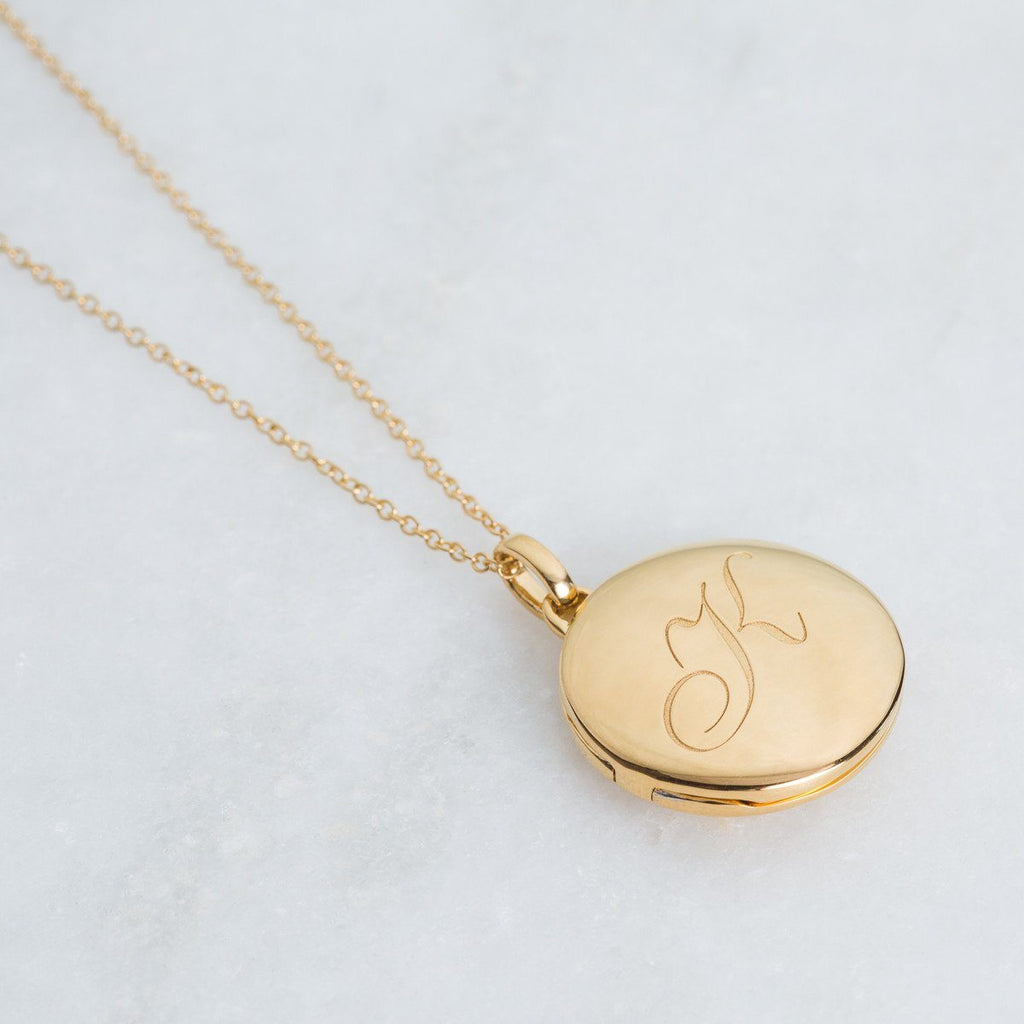14k Gold Vermeil Engraved Initial Locket Necklace with Diamond Detail Necklace VJI Gold Vermeil K