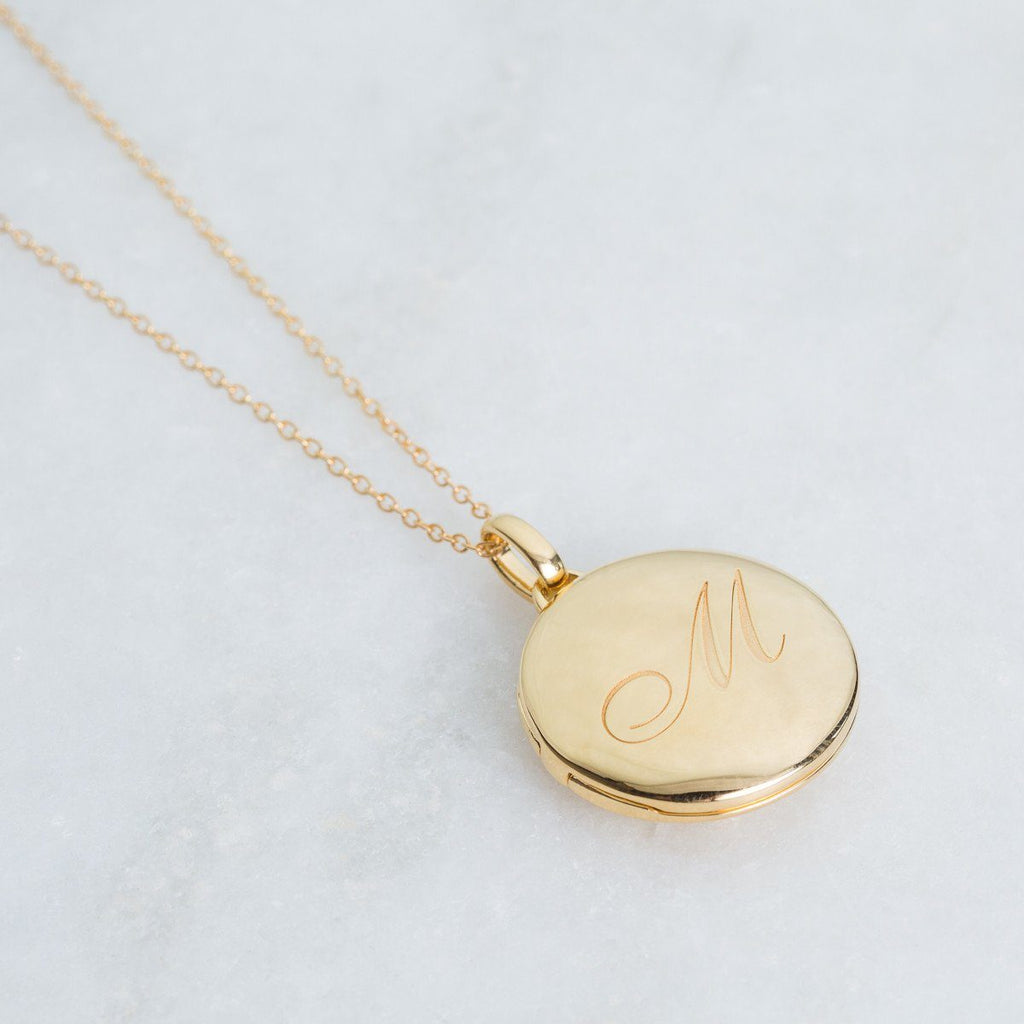 14k Gold Vermeil Engraved Initial Locket Necklace with Diamond Detail Necklace VJI Gold Vermeil M