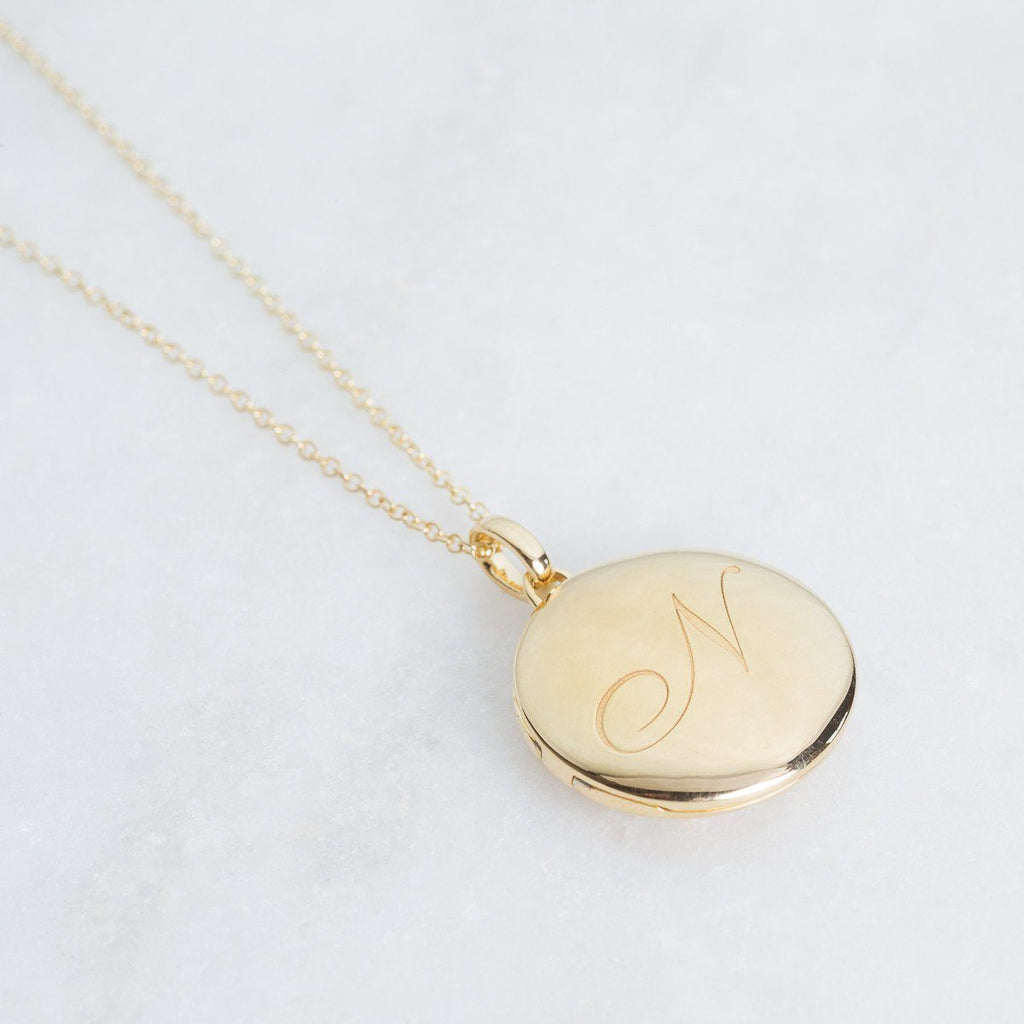 14k Gold Vermeil Engraved Initial Locket Necklace with Diamond Detail Necklace VJI Gold Vermeil N