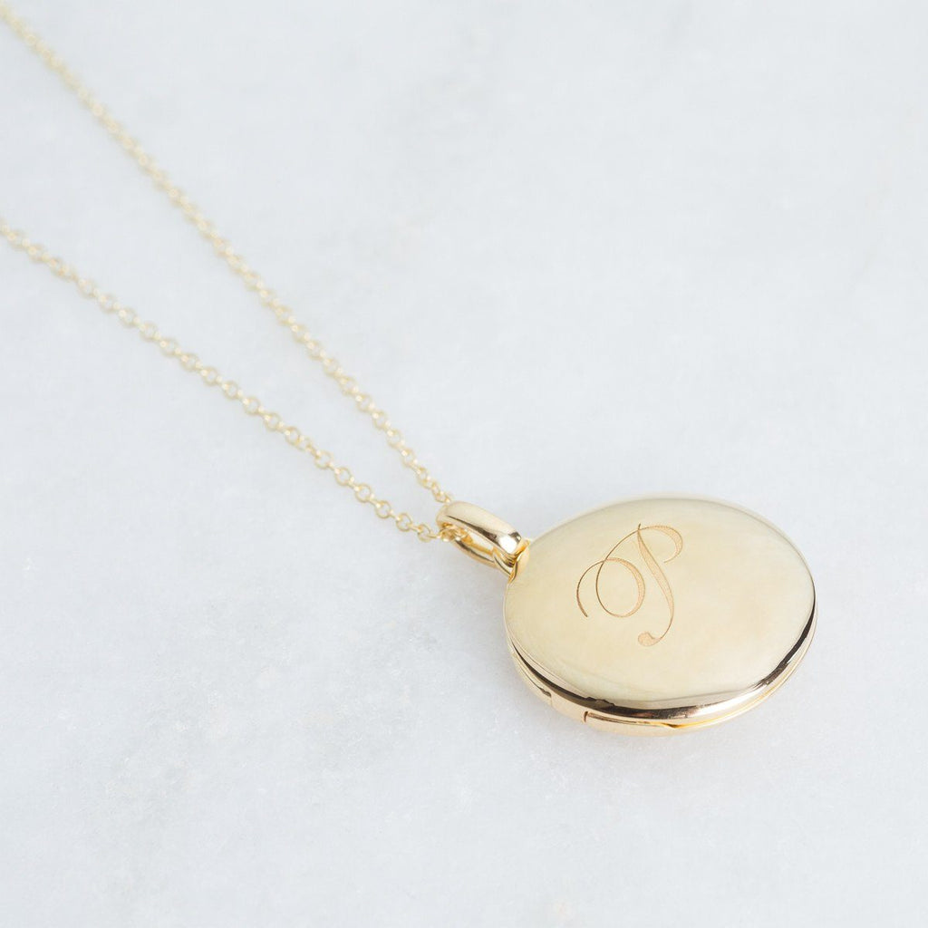 14k Gold Vermeil Engraved Initial Locket Necklace with Diamond Detail Necklace VJI Gold Vermeil R