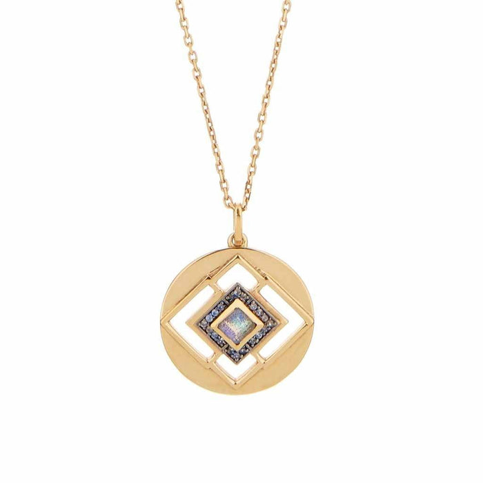 14k Gold Vermeil Deco Cut Out Necklace in Labradorite & Diamond
