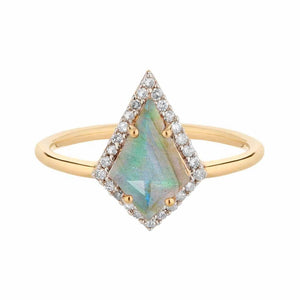 Labradorite & Diamond Kite Ring in Gold Vermeil