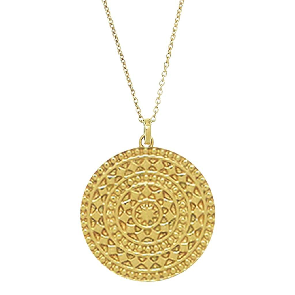 "14k Gold Vermeil Large Aztec Disc Pendant Necklace 100.00 20""+, Best Seller, Gold, necklace, over-80"