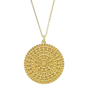 14k Gold Vermeil Large Aztec Disc Pendant Necklace Necklace Malya gold