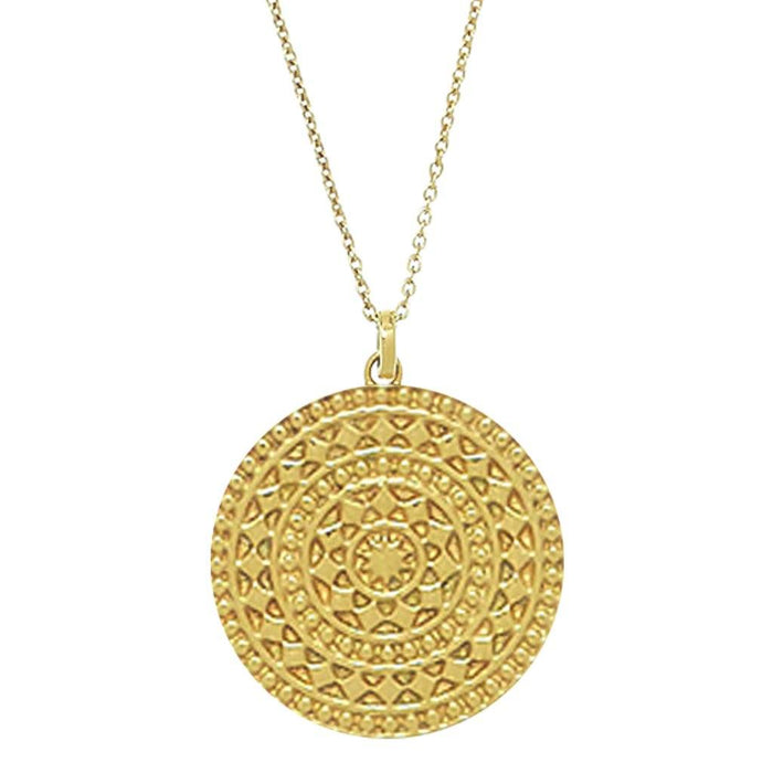 14k Gold Vermeil Large Aztec Disc Pendant Necklace