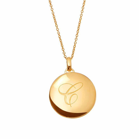 14k Gold Vermeil Engraved Initial Locket Necklace with Diamond Detail