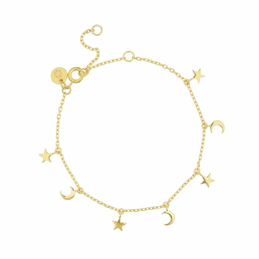 14k Gold Vermeil Mini Charm Bracelet in Moon & Stars  bracelet, Cosmos, Gold, New In, under-80