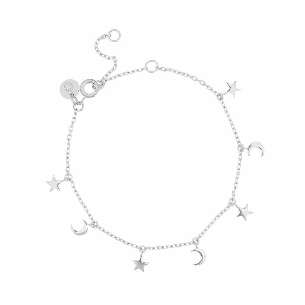 Sterling Silver Mini Charm Bracelet in Moon & Stars  bracelet, Cosmos, New In, Silver, under-80