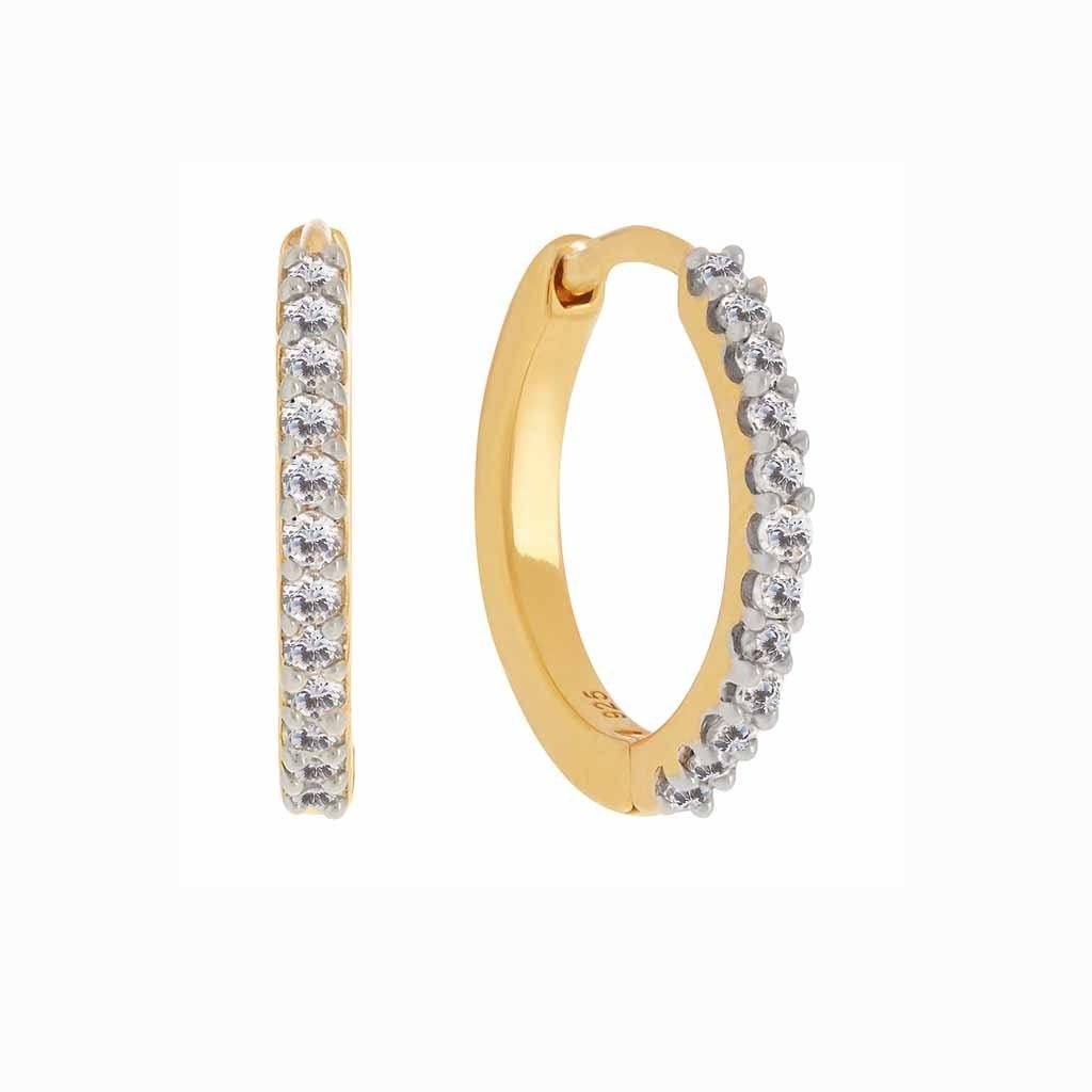 14k Gold Vermeil Mini Hugging Hoops in Diamond Earrings VJI