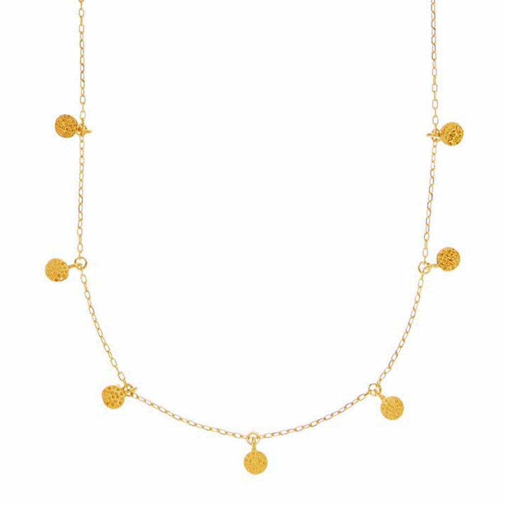 Mini Hanging Coin Pendant Necklace In Gold Vermeil