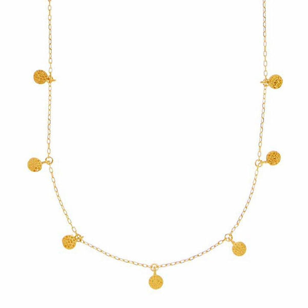 14k Gold Vermeil Mini Hanging Coin Pendant Necklace Necklace Malya Gold Small