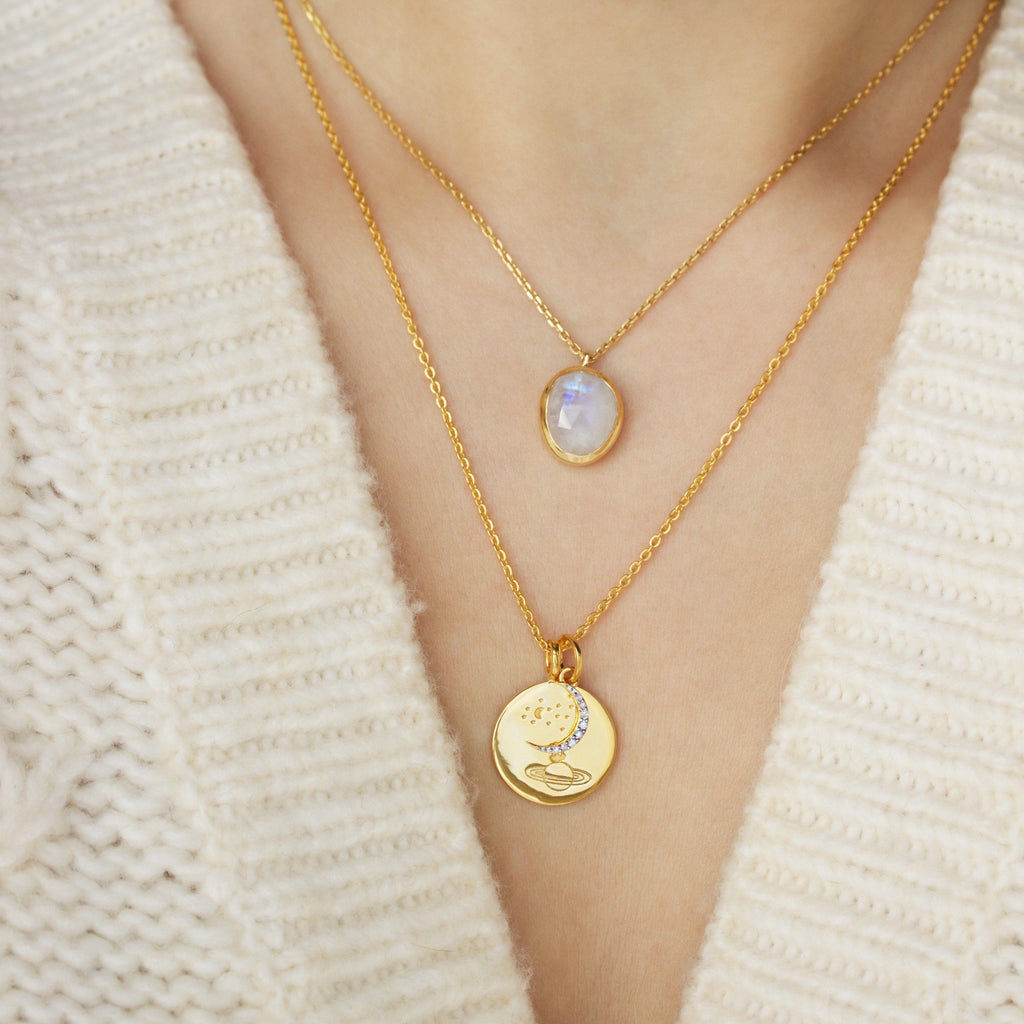 14k Gold Vermeil Diamond Moon Charm Necklace Pink City