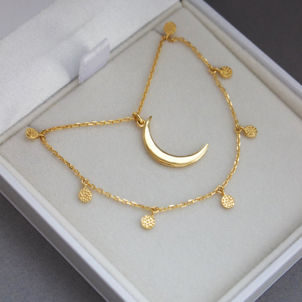 Mini Hanging Coin & New Moon Necklace Set In Gold Vermeil