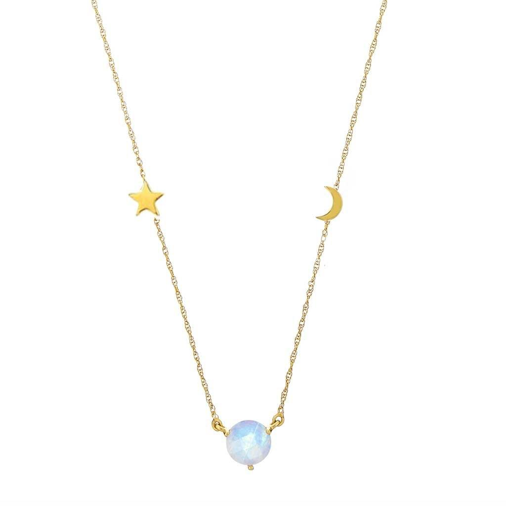 "14k Gold Vermeil Dream Catcher Necklace with Rainbow Moonstone 80.00 16"", Cosmos, Gold, Moonstone, necklace, over-80, Semi Precious, Valentines"