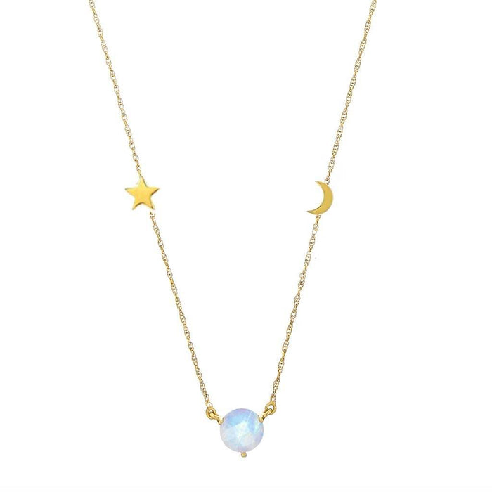 14k Gold Vermeil Dream Catcher Necklace with Rainbow Moonstone