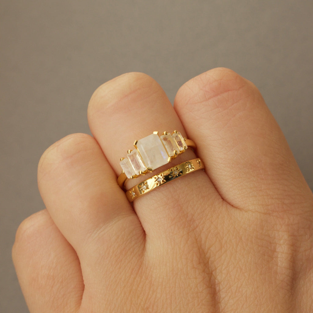 14k Gold Vermeil Moonstone Deco Ring Ring PINK CITY