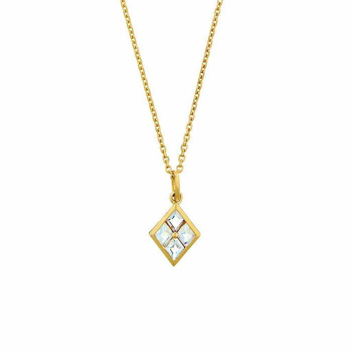 Diamond Shape Moonstone Pendant in Gold Vermeil