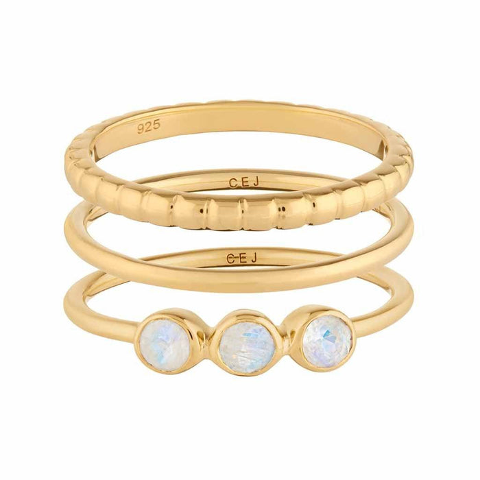 Moonstone Stacking Band Set in Gold Vermeil