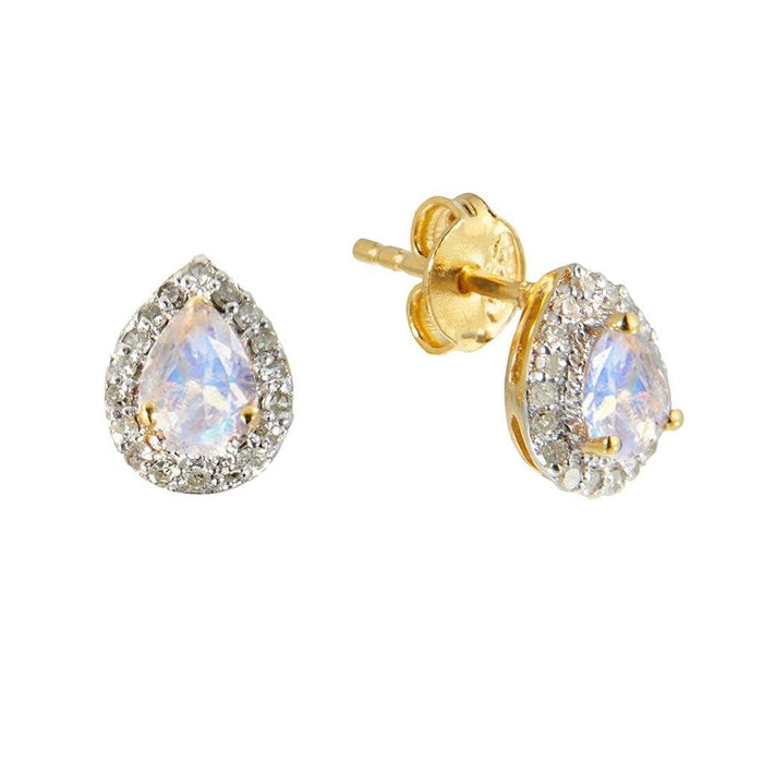 14k Gold Vermeil Pear Shape Moonstone & Diamond Earrings