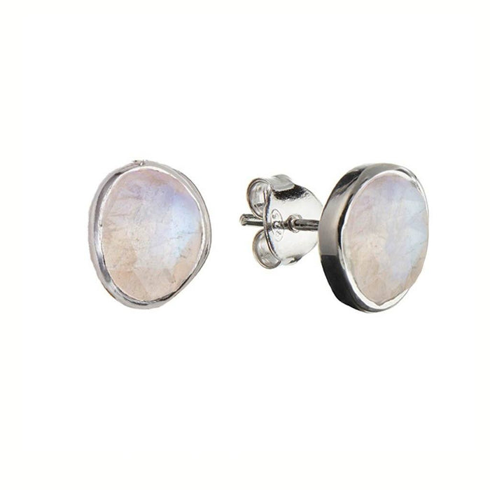 Sterling Silver Simple Stone Earrings in Moonstone