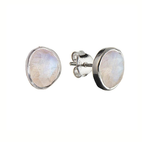 Sterling Silver Simple Stone Earrings in Moonstone - Carrie Elizabeth