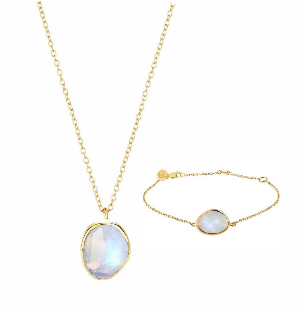 14k Gold Vermeil Semi Precious Stone Pendant & Bracelet Set in Moonstone  Gold, Moonstone, necklace, Necklace Set, New In, over-80