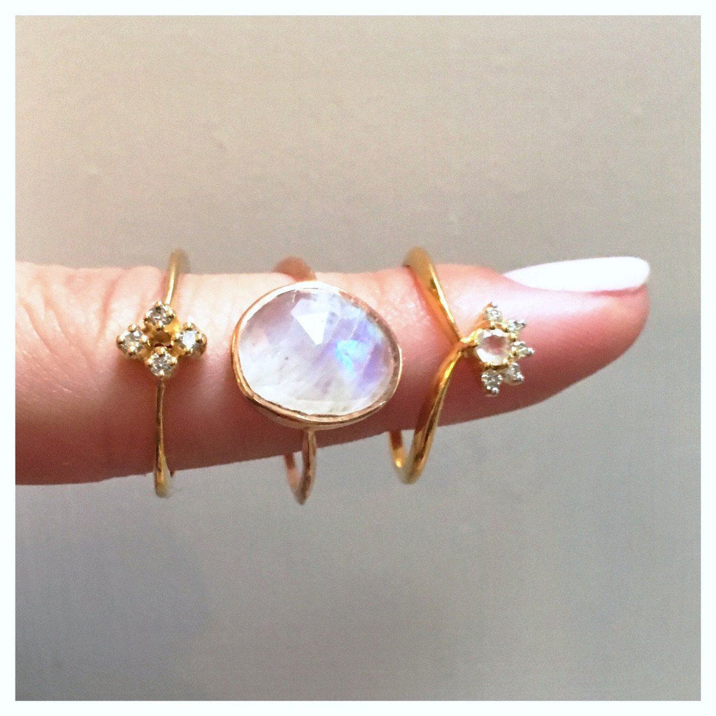 14k Gold Vermeil Simple Semi Precious Stone Ring in Moonstone 80.00 Best Seller, Gold, Moonstone, Organic, over-80, ring, Semi Precious