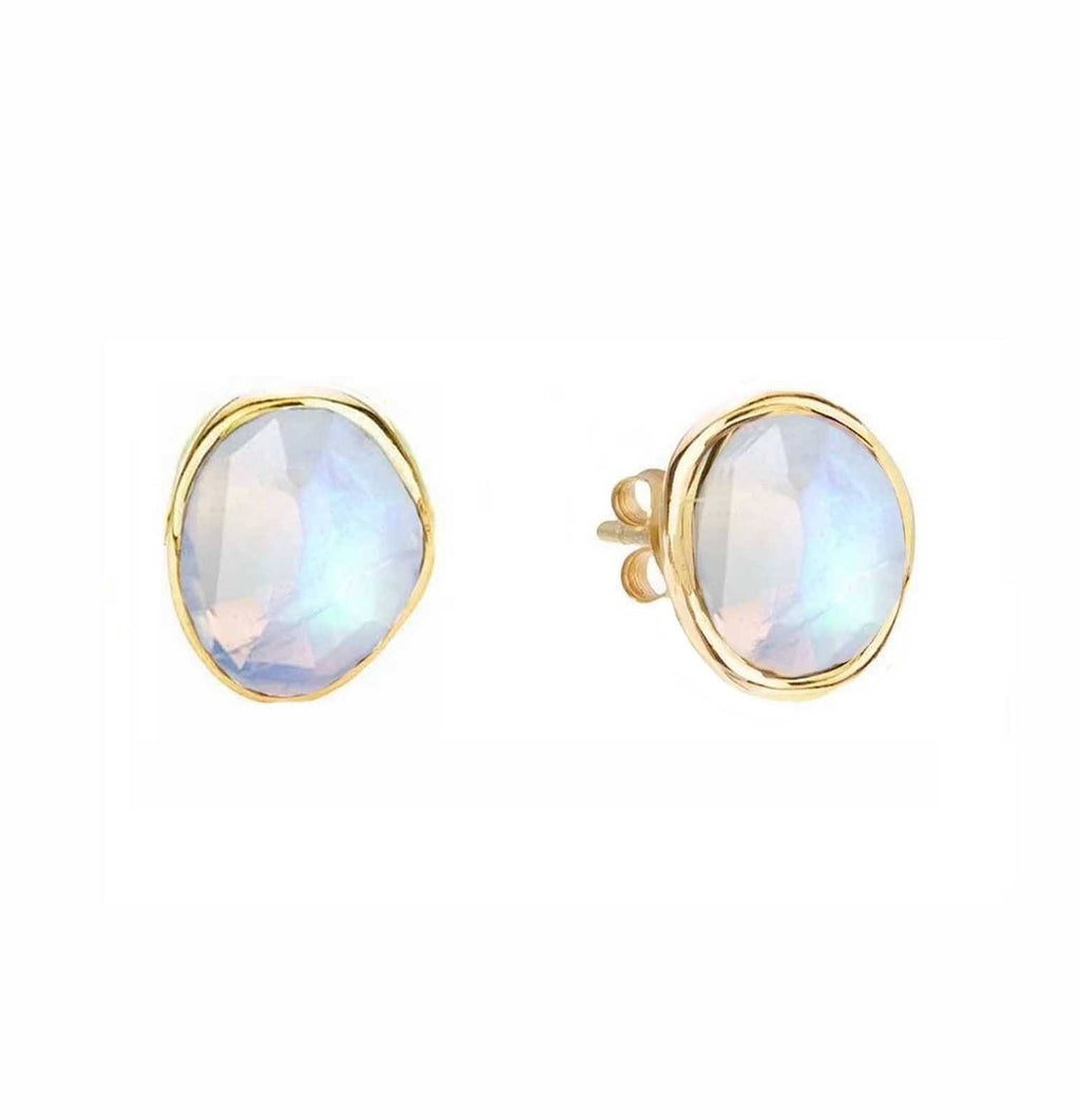 14k Gold Vermeil Simple Earrings in Moonstone Earrings Malya