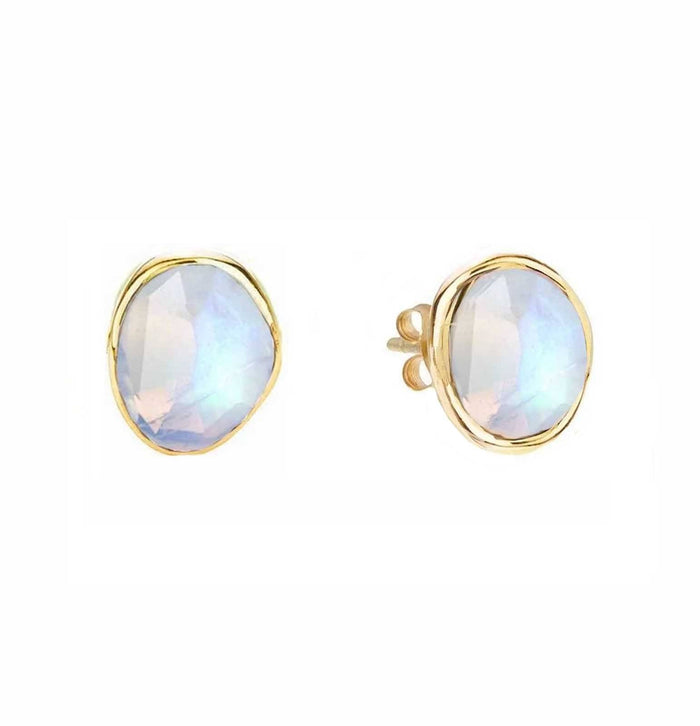 14k Gold Vermeil Simple Earrings in Moonstone