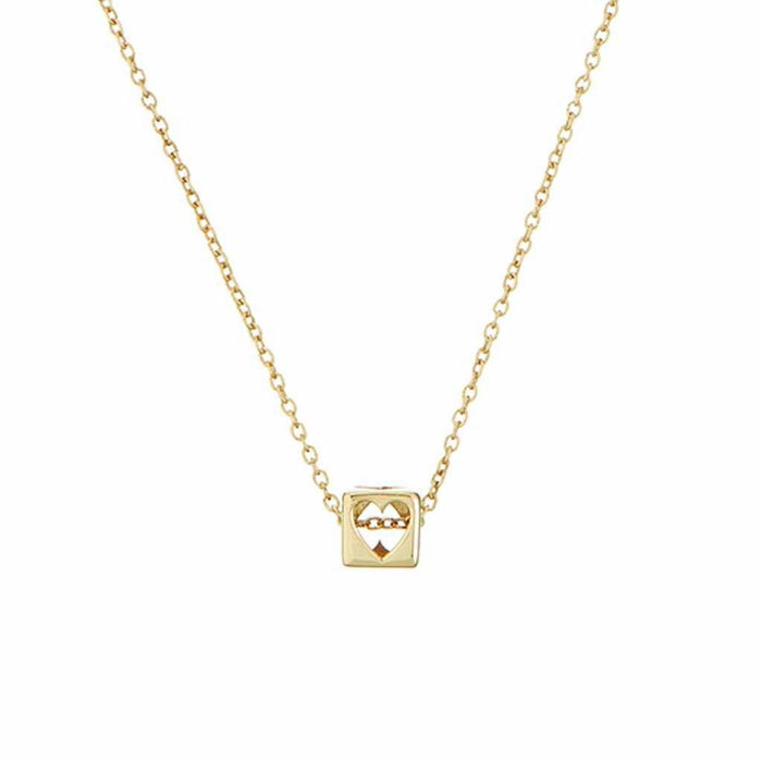 Heart Cube Necklace In 9k Solid Yellow Gold