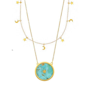 14k Gold Mini Hanging Charm & Night Sky in Turquoise Necklace Set Necklace Malya