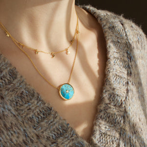 14k Gold Mini Hanging Charm & Night Sky in Turquoise Necklace Set