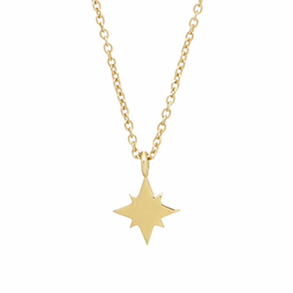 "9K Solid Gold Mini North Star Pendant  16"", 9K Solid Gold, Cosmos, Diamond, Meaningful, necklace, New In, over-80, Solid Gold"