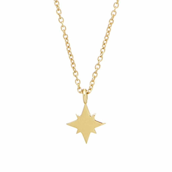 9K Solid Gold Mini North Star Pendant Necklace Dwarkas