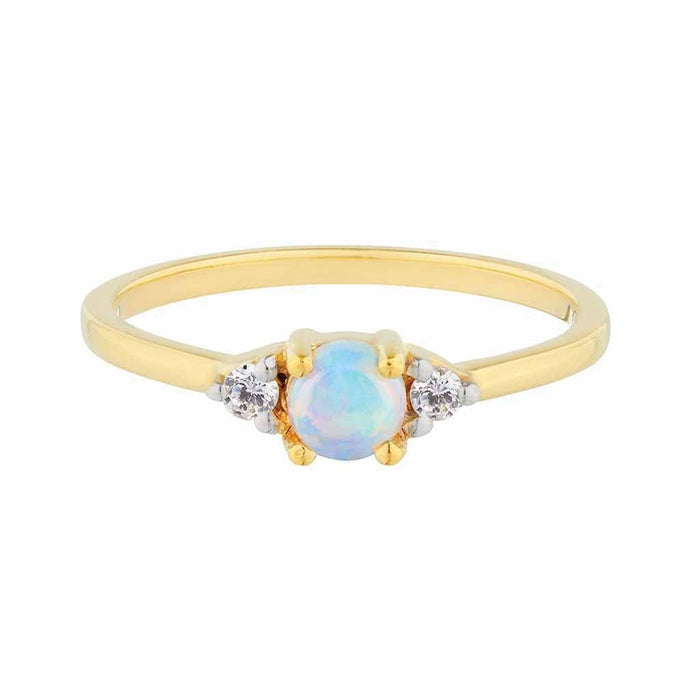 Opal and Diamond Stacking Ring in Gold Vermeil