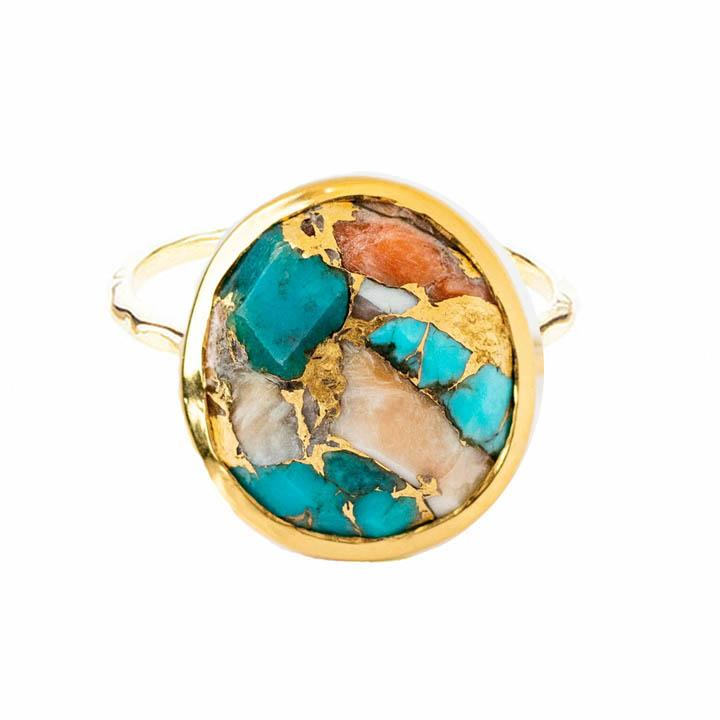 14k Gold Vermeil Statement Oyster Turquoise Ring 95.00 Best Seller, Gold, New In, over-80, ring, Semi Precious, Turquoise