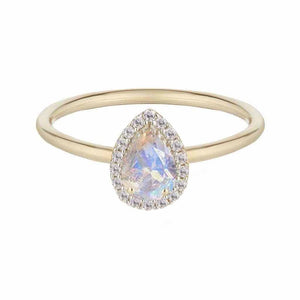 14k Solid Gold Estelle Ring in Moonstone & Diamond