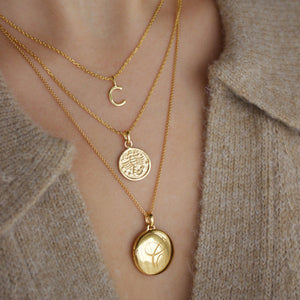 Engraved Initial Locket Necklace with Diamond Detail In Gold Vermeil
