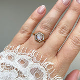 14k Solid Gold Celeste Moonstone & Diamond Ring Ring Dwarkas