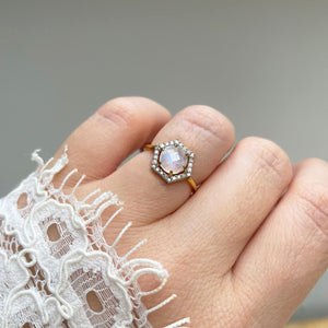 14k Solid Gold Celeste Moonstone & Diamond Ring