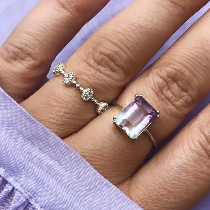 Sterling Silver Fluorite Prong Set Ring