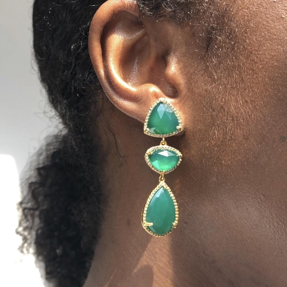 14k Gold Plated Triple Stone Statement Earring in Green Onyx Earrings Malya