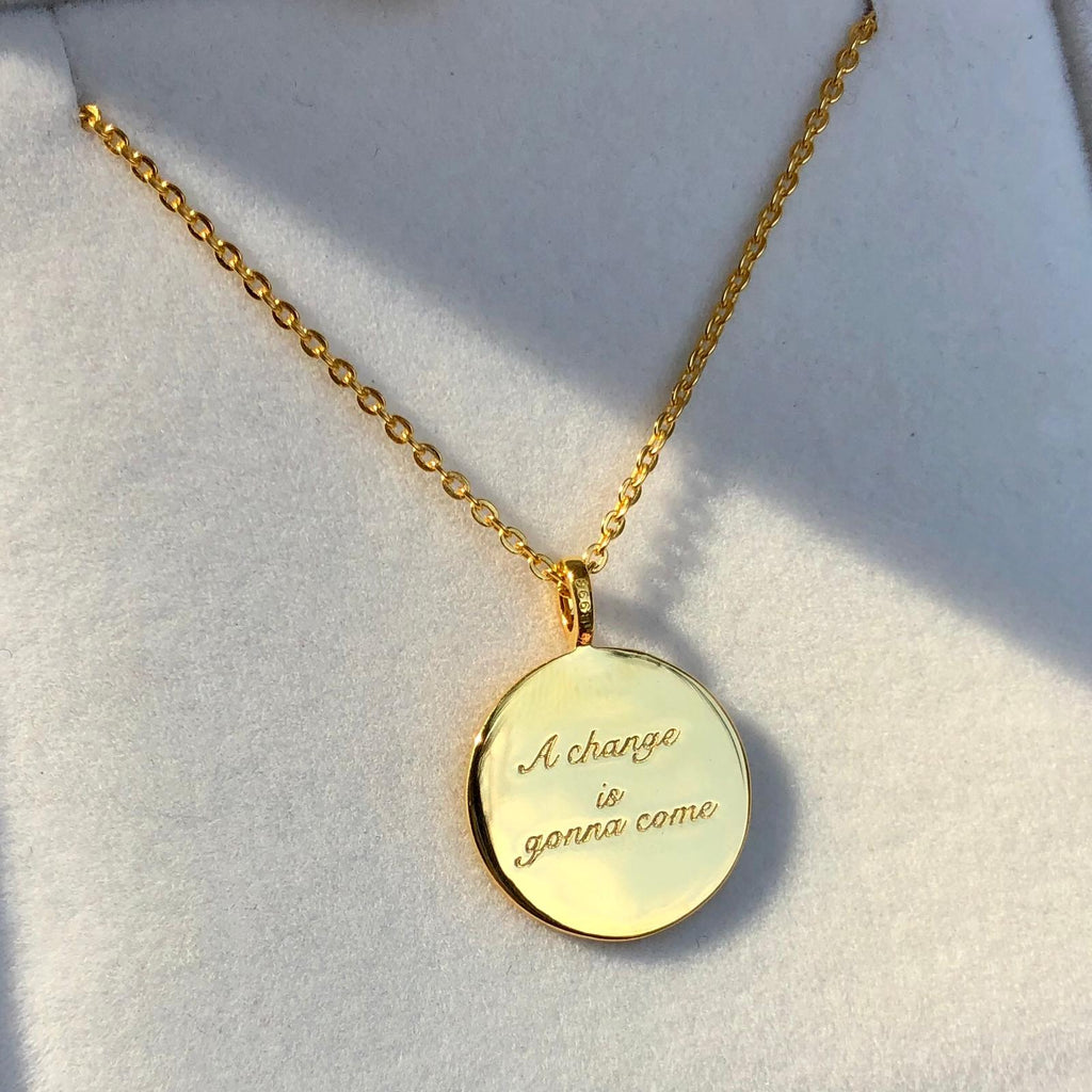 14k Gold Plated A Change is Gonna Come Coin Necklace -NOT TO LAUNCH YET Necklace Pink City